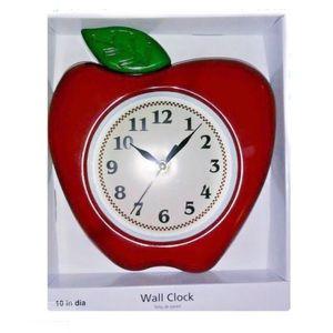 """Apple Design Red Wall Quartz Clock 10""""  NEW"""
